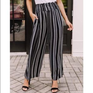 1.STATE Smocked-Waist Striped Pants 1X lq274